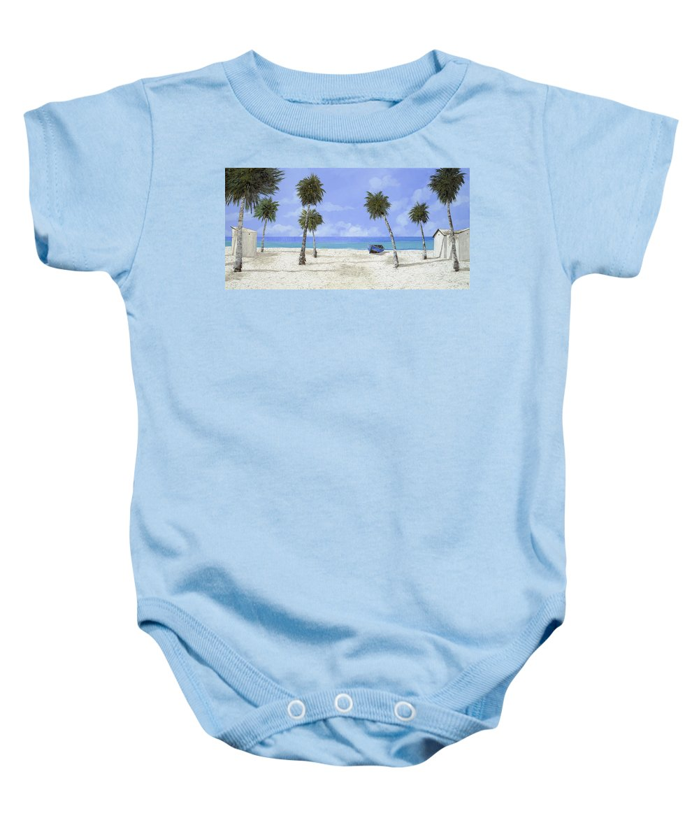 Seascape Baby Onesie featuring the painting Le Cabine Bianche by Guido Borelli