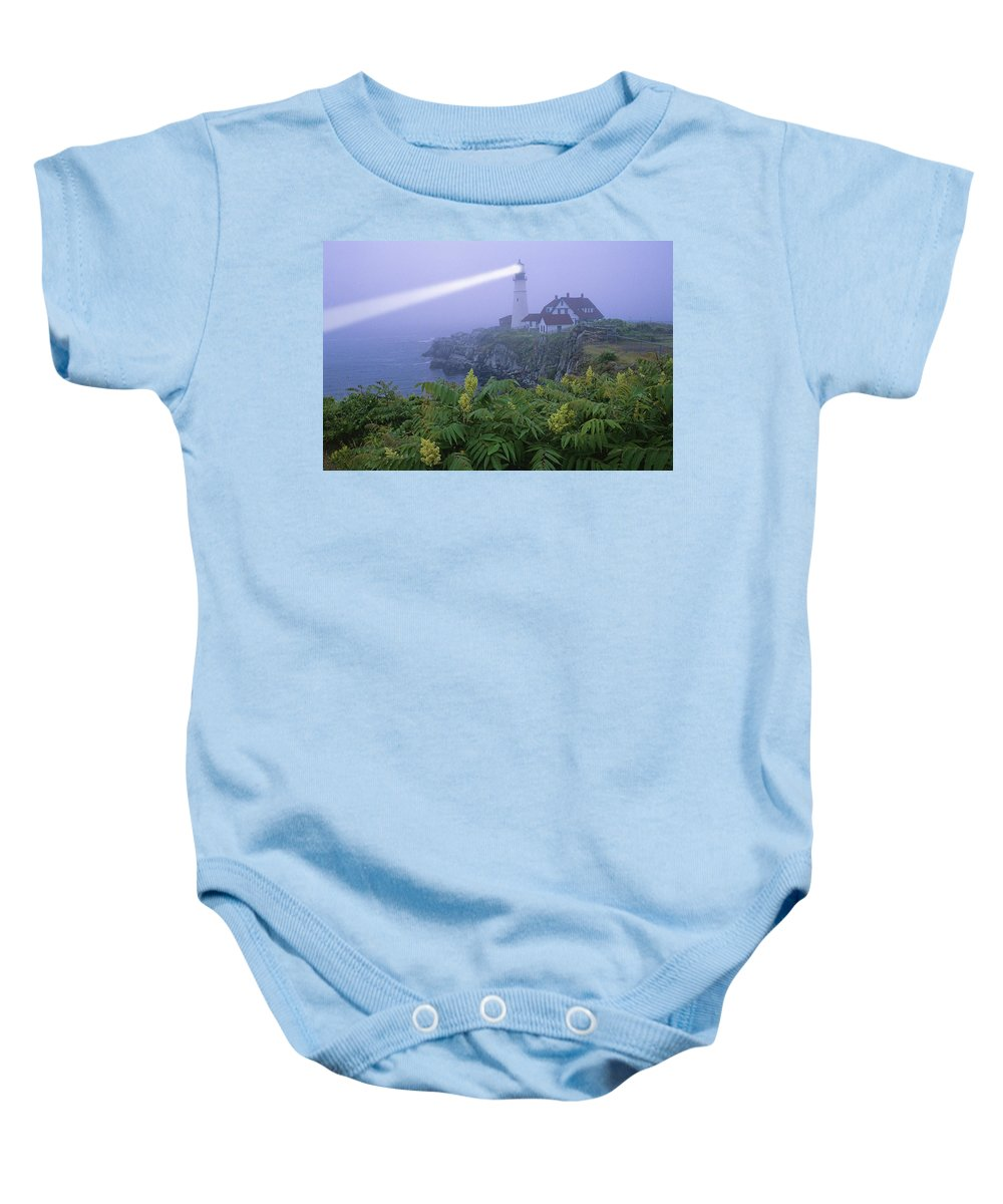 Beam Baby Onesie featuring the photograph Lighthouse In The Evening by Bilderbuch
