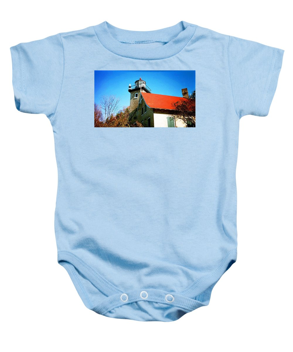 Lighthouse Baby Onesie featuring the photograph Lighthouse In The Fall by April Patterson