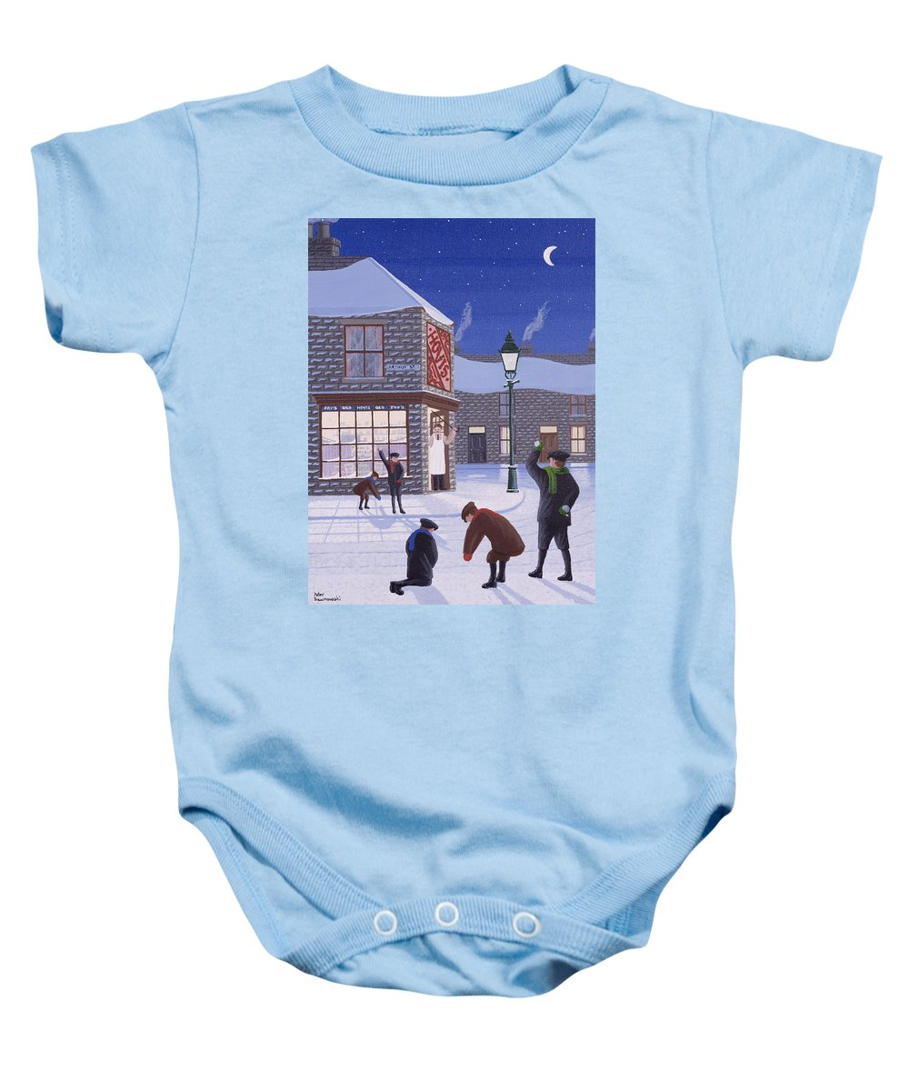 Corner Shop; Lamp Post; Moon; Snowball Fight; Shop Keeper; Hovis; Rascal; Rascals; Child; Children; Boys; Playing; Snow; Winter; Snowballing; Snowballs; Throwing; Games; Man; Angry; Cane; Street Baby Onesie featuring the painting Little Rascals by Peter Szumowski