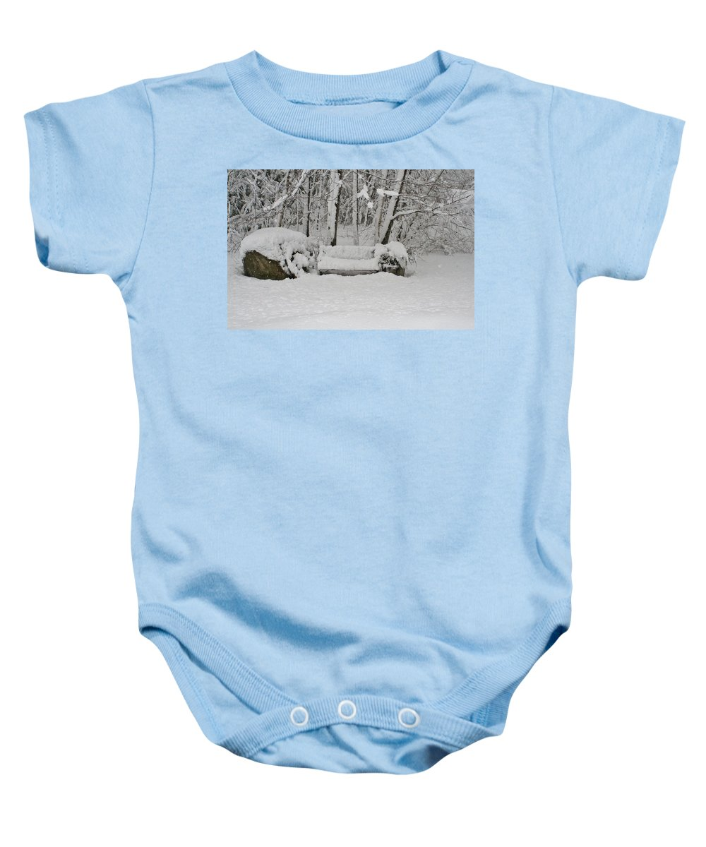 Baby Onesie featuring the photograph Lonely In Winter by Barbara S Nickerson