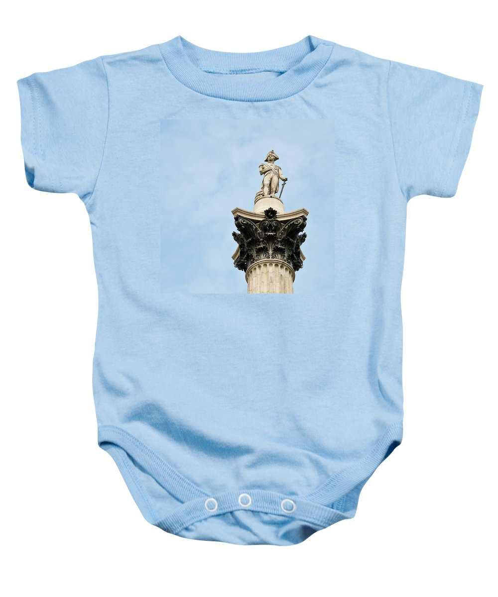 Admiral Baby Onesie featuring the photograph Lord Nelson's Column by Beth Riser