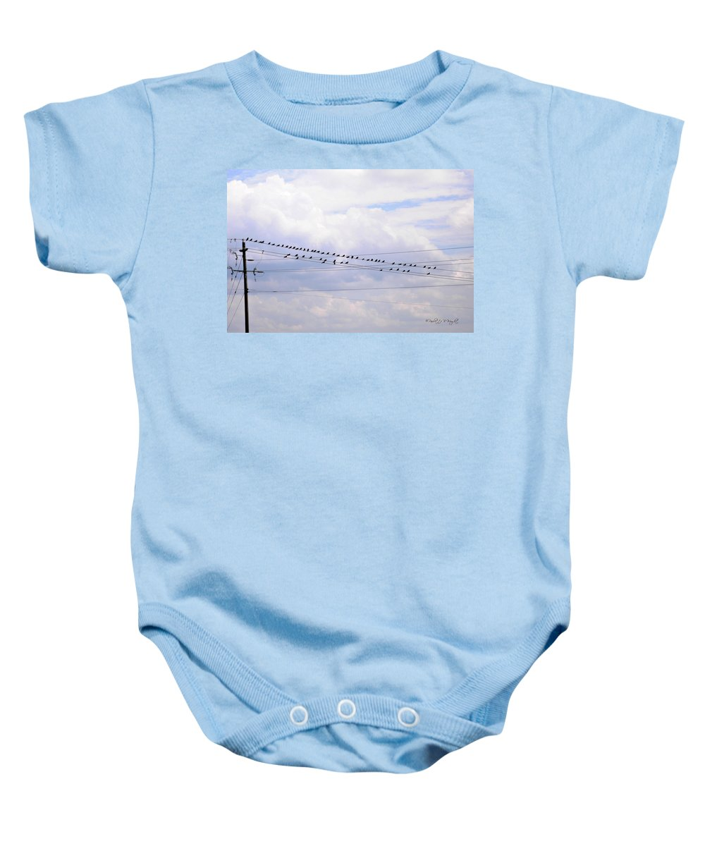 Interior Design Baby Onesie featuring the photograph Lots Of Birds On Wires by Paulette B Wright
