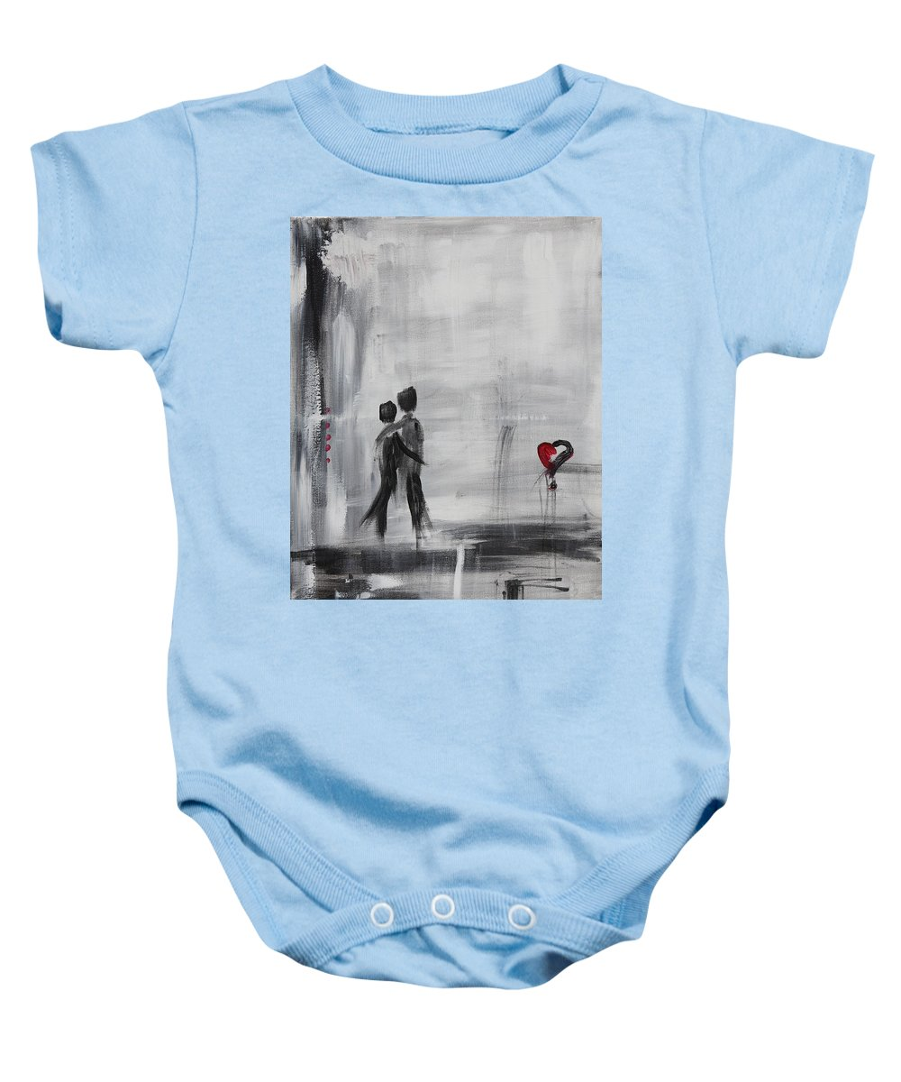 Love Baby Onesie featuring the painting Love Story 1 by Sladjana Lazarevic