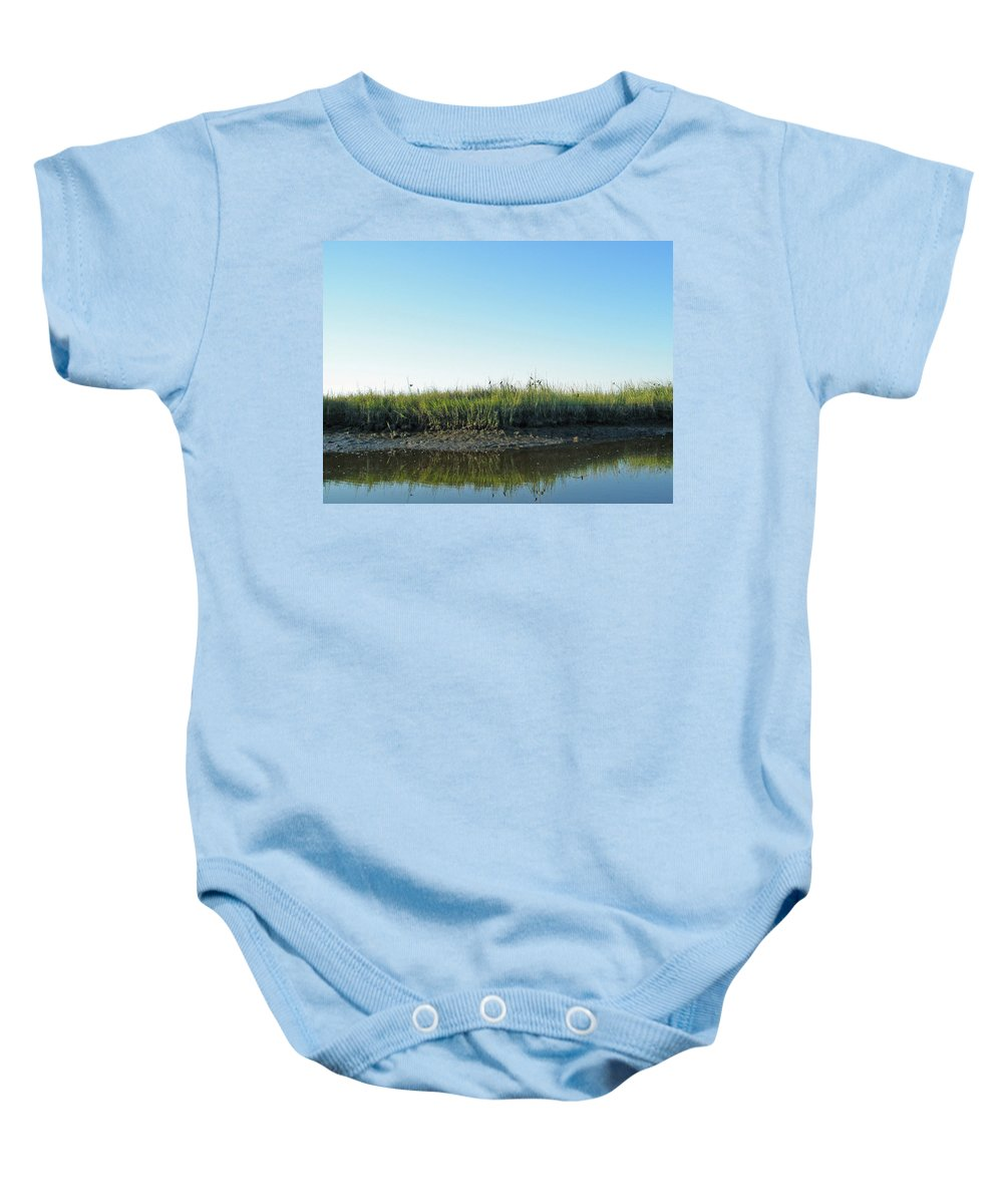 Creek Baby Onesie featuring the photograph Low Tide In The Tidal Creek by Mother Nature