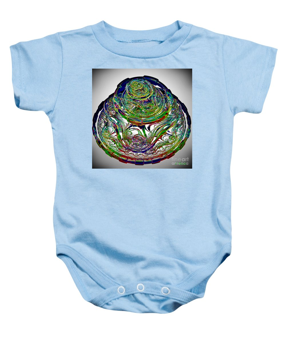 Abstract Baby Onesie featuring the digital art Manic Maze by Leslie Revels