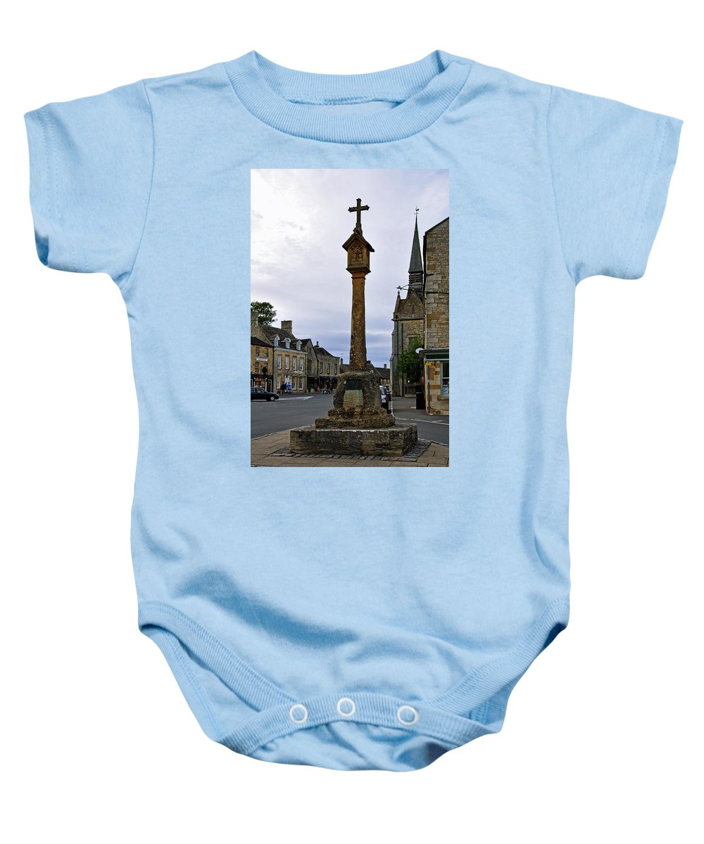 The Cotswolds Baby Onesie featuring the photograph Market Cross - Stow-on-the-wold by Rod Johnson