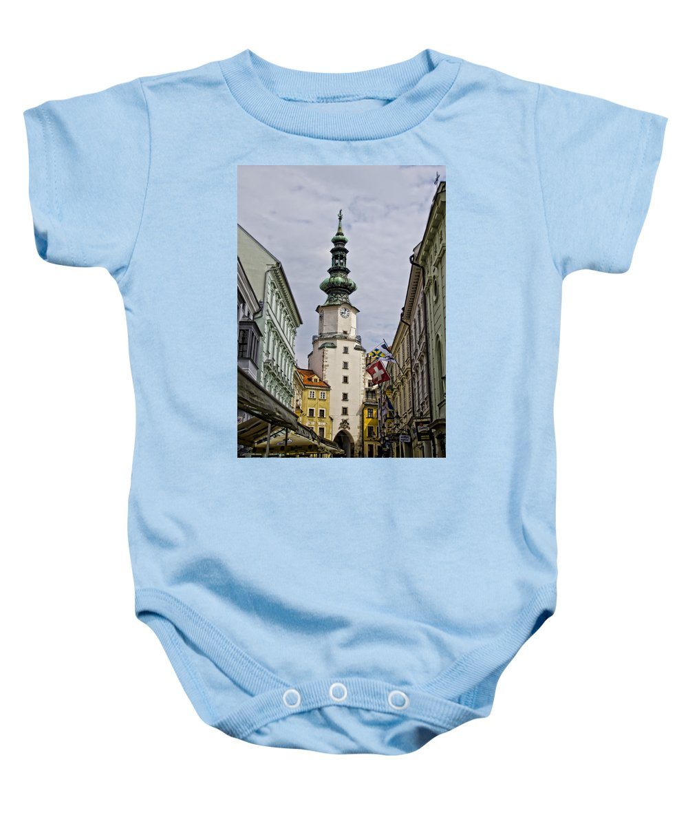 Michaels Gate Baby Onesie featuring the photograph Michaels Gate - Bratislava Slovakia by Jon Berghoff