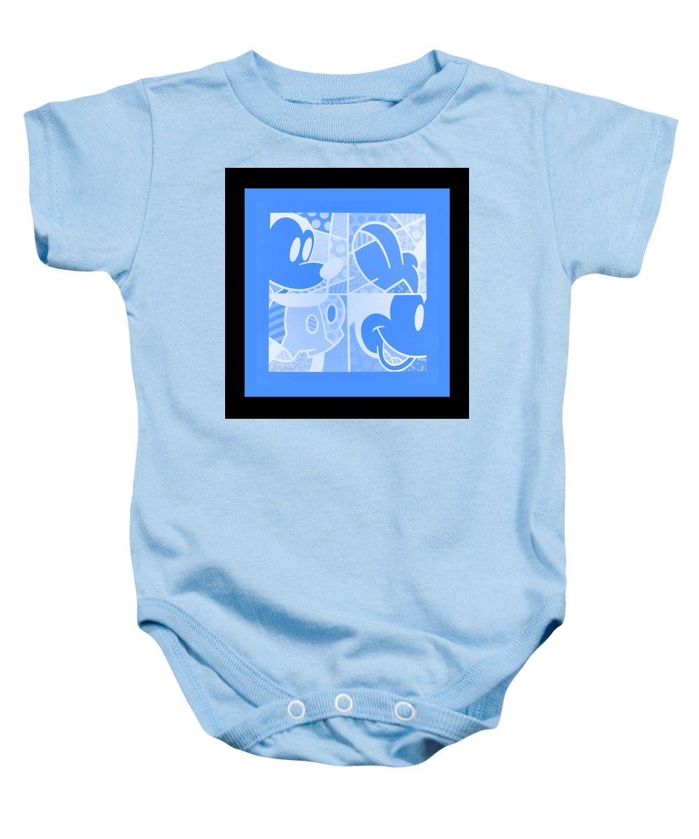 Mickey Mouse Baby Onesie featuring the photograph Mickey In Negative Light Blue by Rob Hans