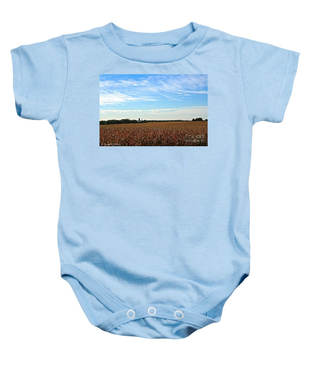 Landscape Baby Onesie featuring the photograph Midwest Farm by Susan Herber