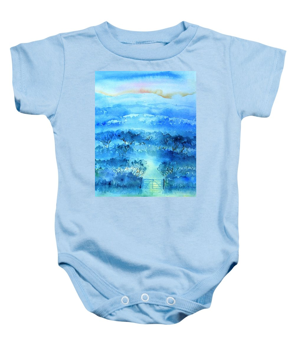 Mist Baby Onesie featuring the painting Misty Morning Ireland by Trudi Doyle