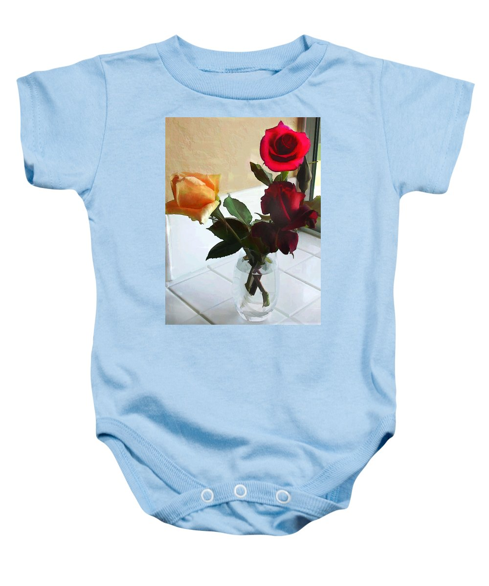 Flower Flowers Garden Roses Vase Window Flora Floral Nature Natural Rose Crystal+vase Tiles Red+rose Yellow+rose Baby Onesie featuring the painting Mixed Roses In Crystal Vase by Elaine Plesser