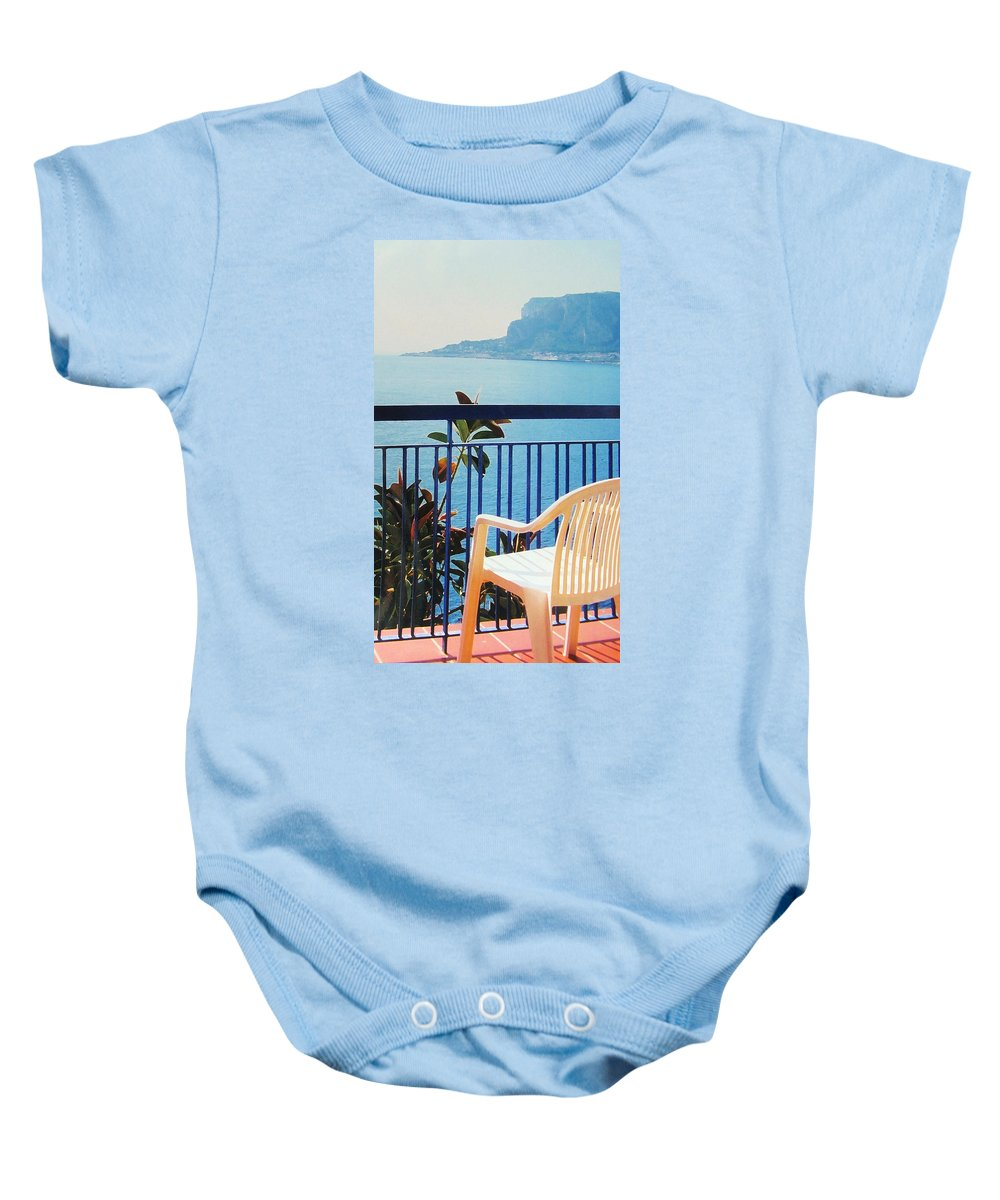 Palermo Baby Onesie featuring the photograph Mondello Bay Sicily by Ian MacDonald