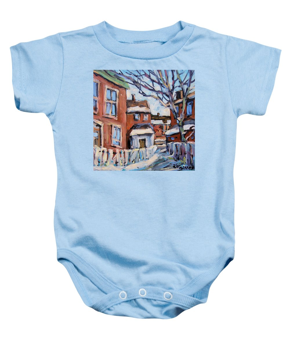 Art Baby Onesie featuring the painting Montreal Scene 03 By Prankearts by Richard T Pranke