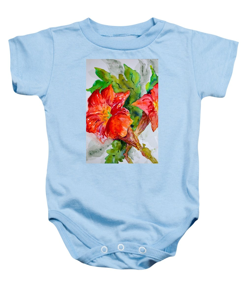 Watercolor Baby Onesie featuring the painting Morning Revelry by Beverley Harper Tinsley