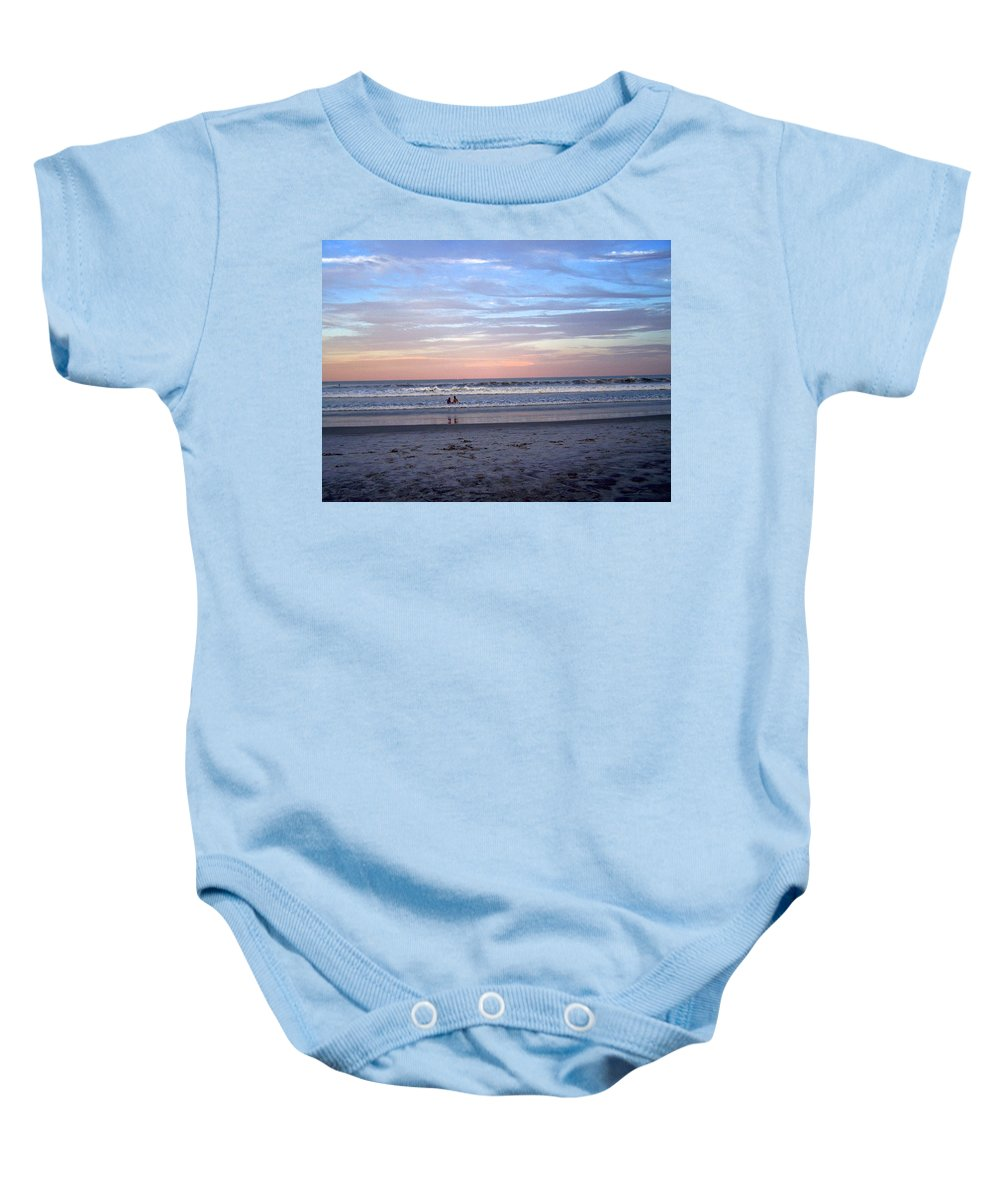 Sunset Baby Onesie featuring the photograph Mother And Daughter Beach Time by Patricia Taylor