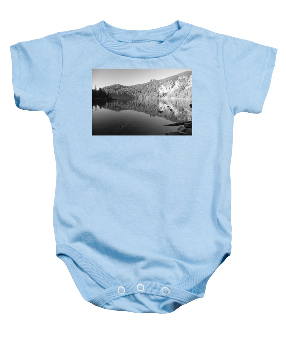 Mowich Baby Onesie featuring the photograph Mowich Lake Mono Print by Michael Merry