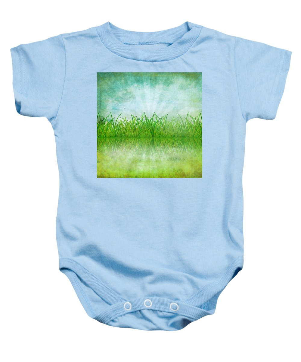 Abstract Baby Onesie featuring the photograph Nature And Grass On Paper by Setsiri Silapasuwanchai