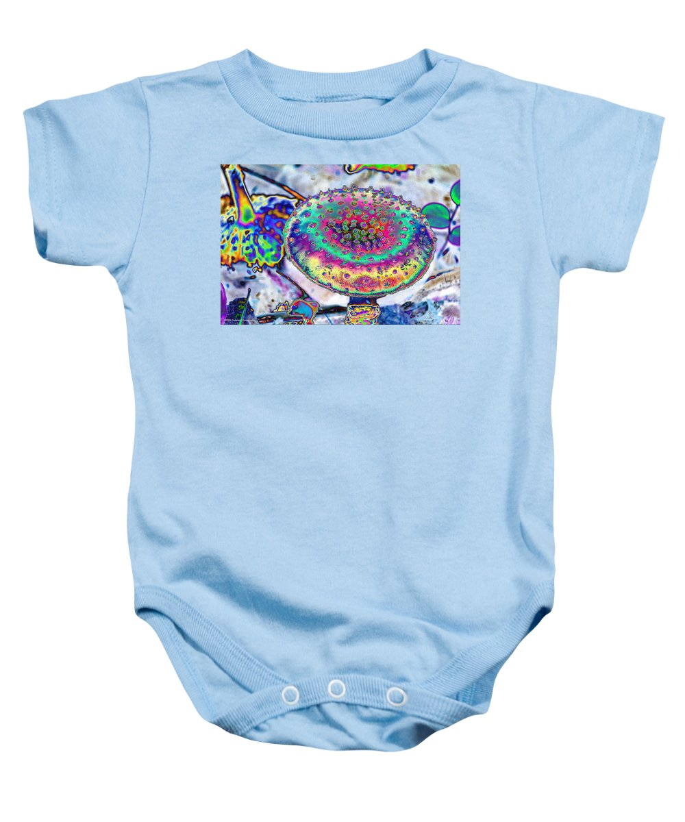 Neon Baby Onesie featuring the photograph Neon Mushroom by Michael Merry