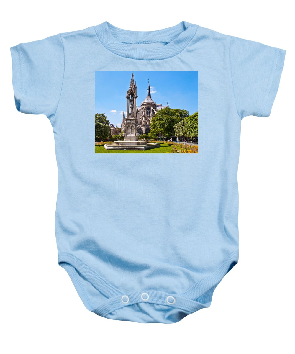 France Baby Onesie featuring the photograph Notre Dame Cathedral Backside by Jon Berghoff