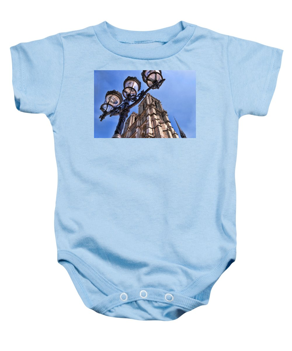 Notre Dame Cathedral Baby Onesie featuring the photograph Notre Dame Tower by Jon Berghoff