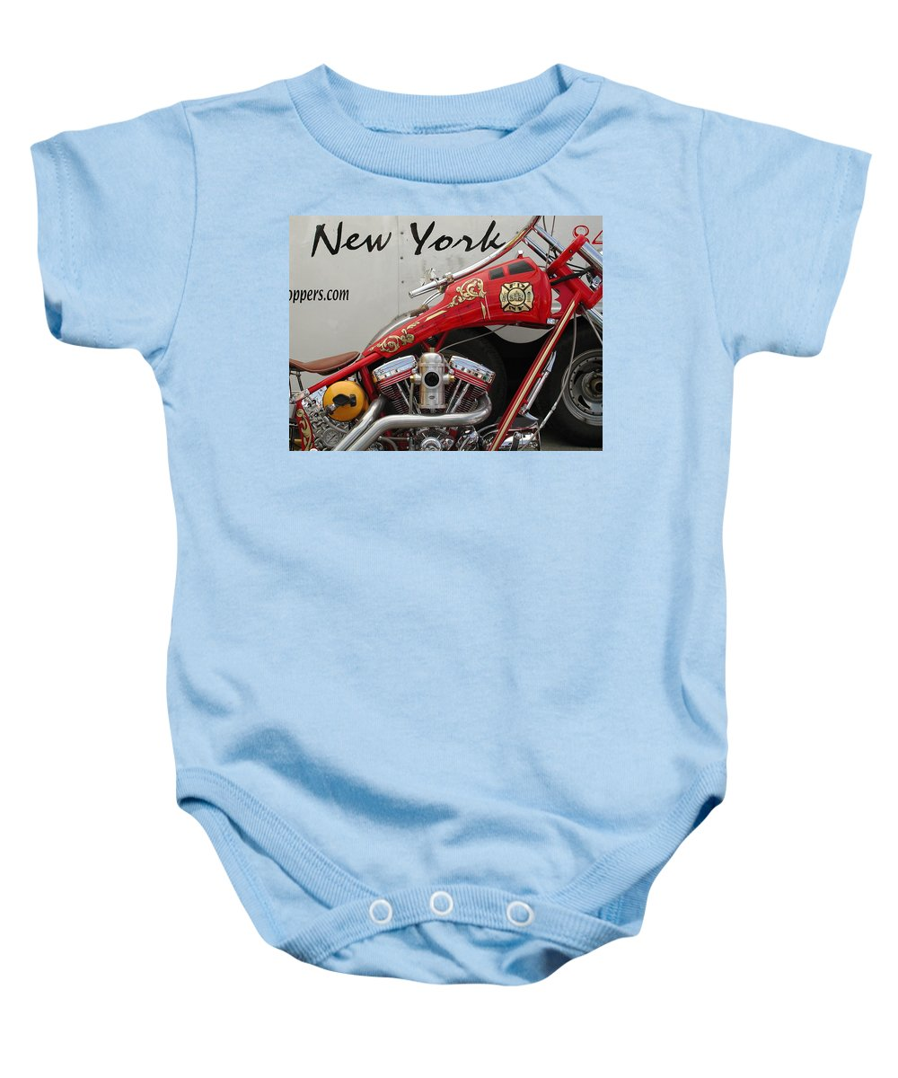 Sturgis Baby Onesie featuring the photograph Occ Fdny Motorcycle by Anna Ruzsan