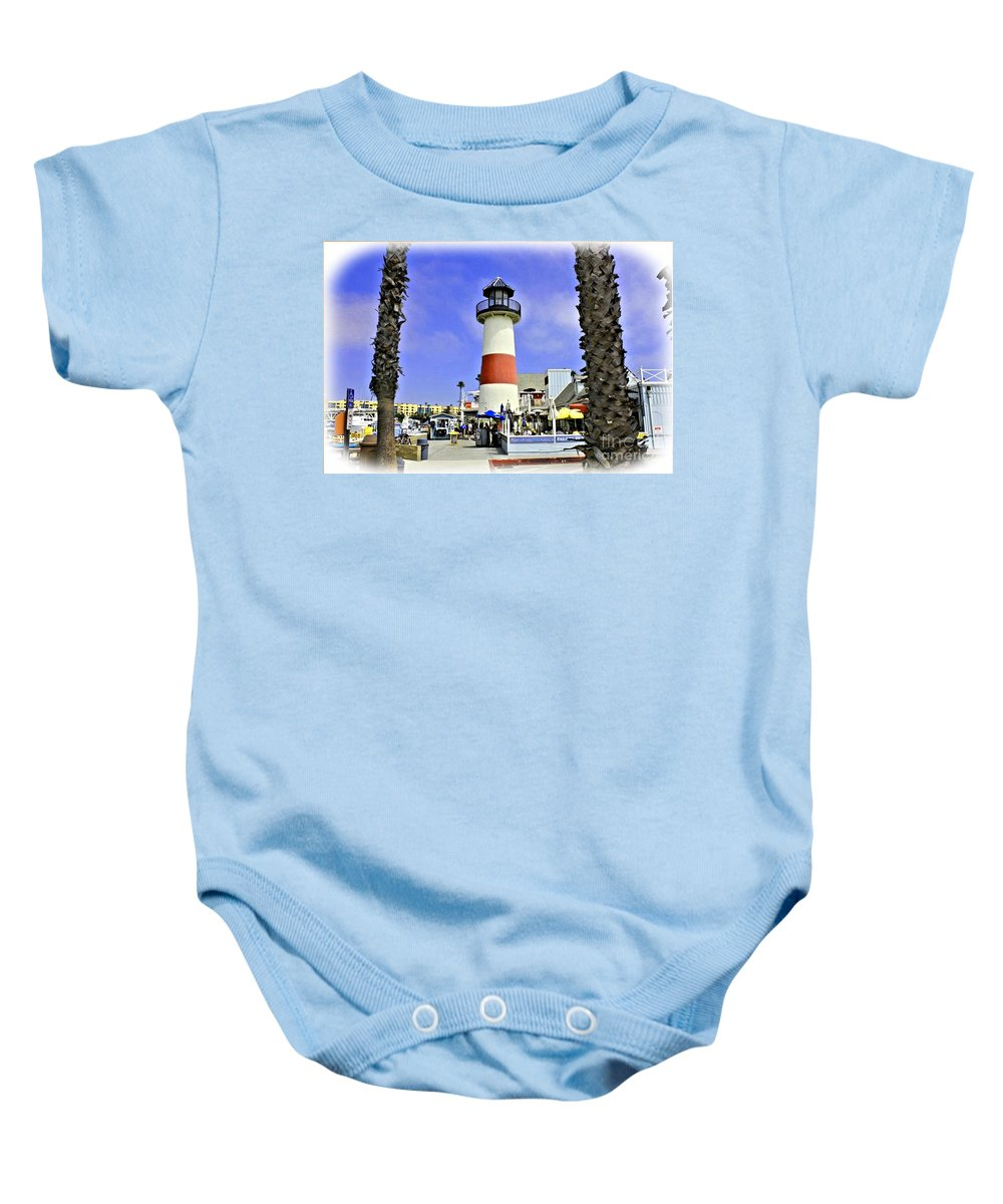 Oceanside Baby Onesie featuring the photograph Oceanside Lighthouse by Tommy Anderson