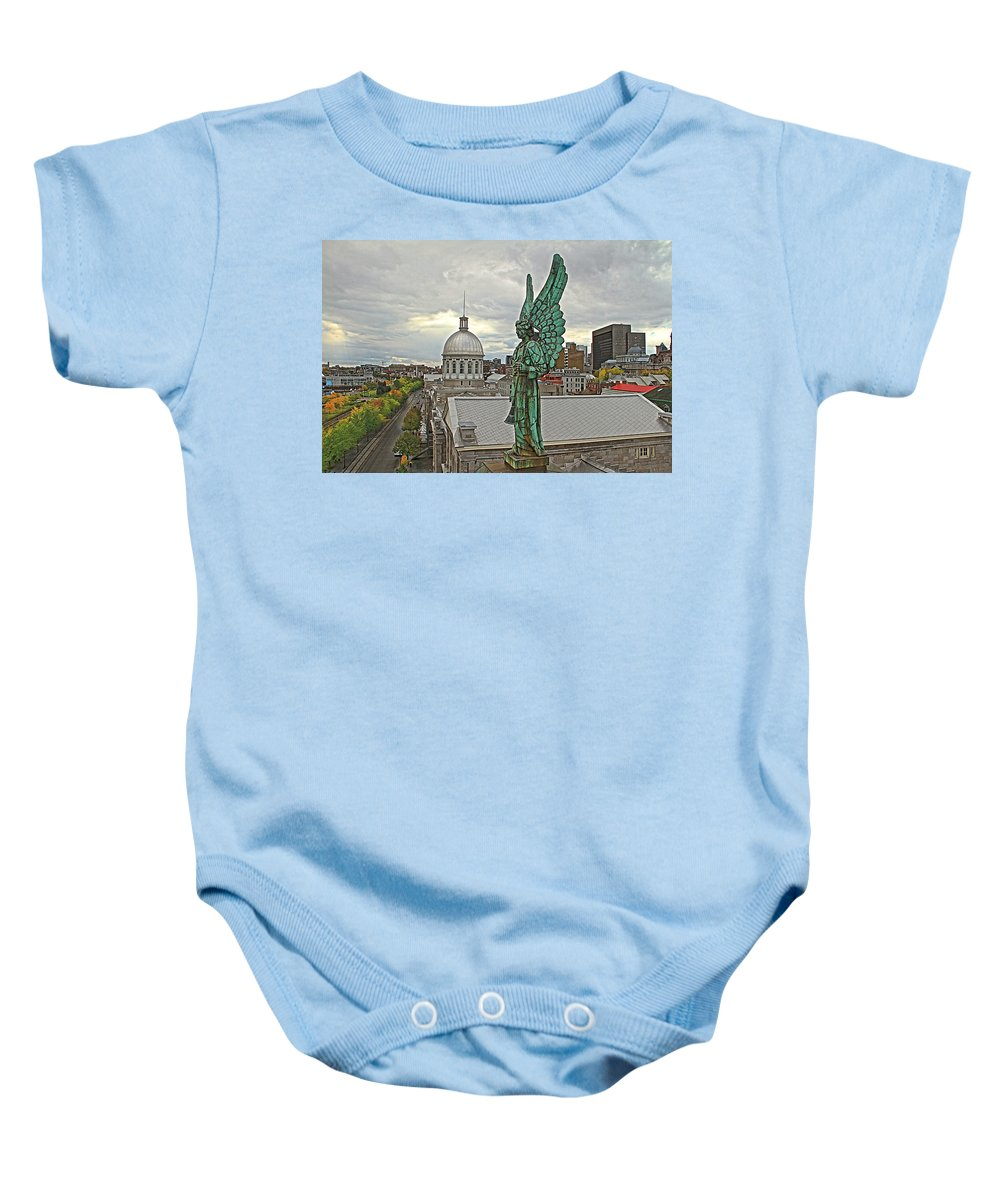 Old Montreal Canada Angel Statue Church City View Baby Onesie featuring the photograph Old Montreal Angel by Alice Gipson