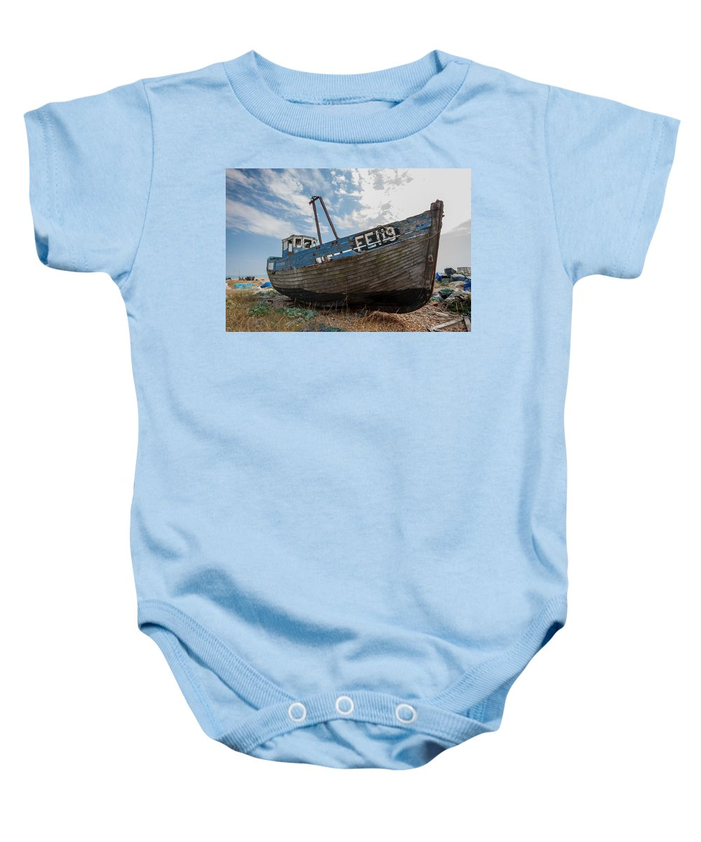 Boat Baby Onesie featuring the photograph Old Wrecked Fishing Boat by Dawn OConnor