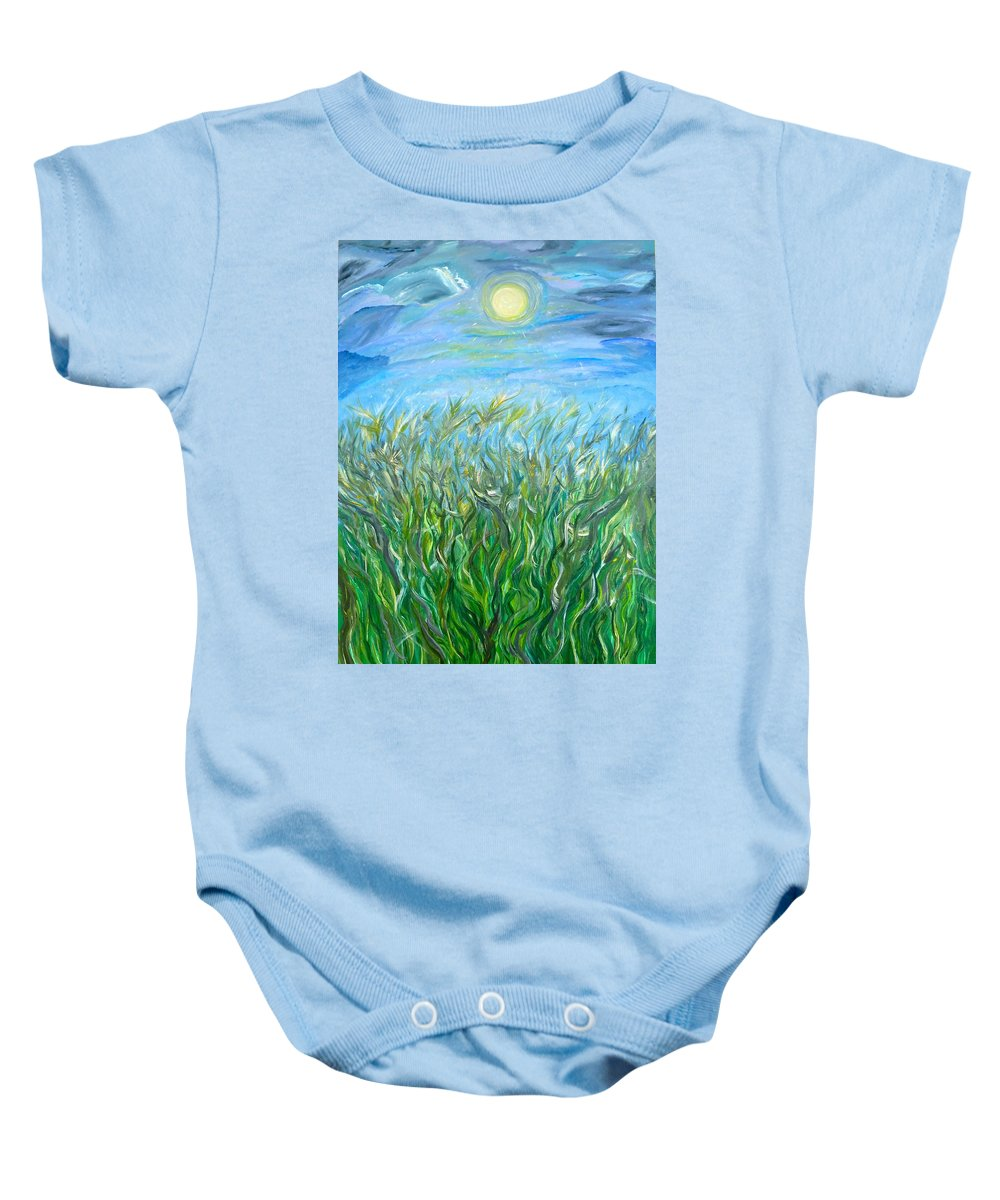 Whimsical Landscape Baby Onesie featuring the painting Organized Shine by Sara Credito