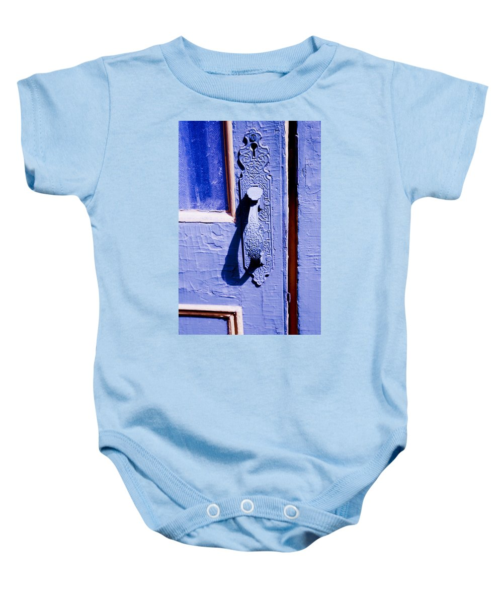 Colorado Baby Onesie featuring the photograph Ornate Door Handle by Marilyn Hunt