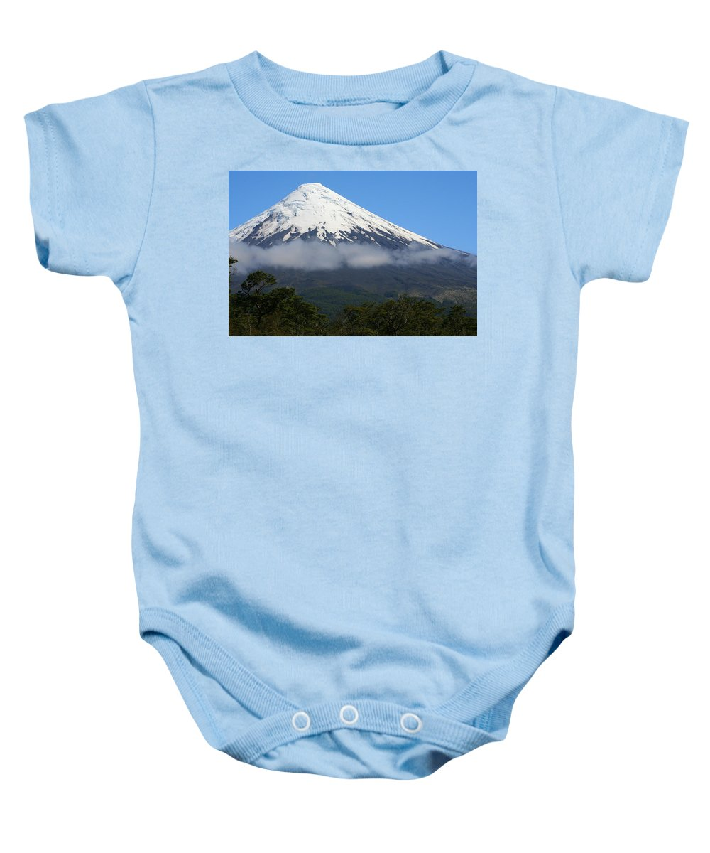 Cloud Baby Onesie featuring the photograph Osorno Volcano Ringed By Clouds by Laurel Talabere