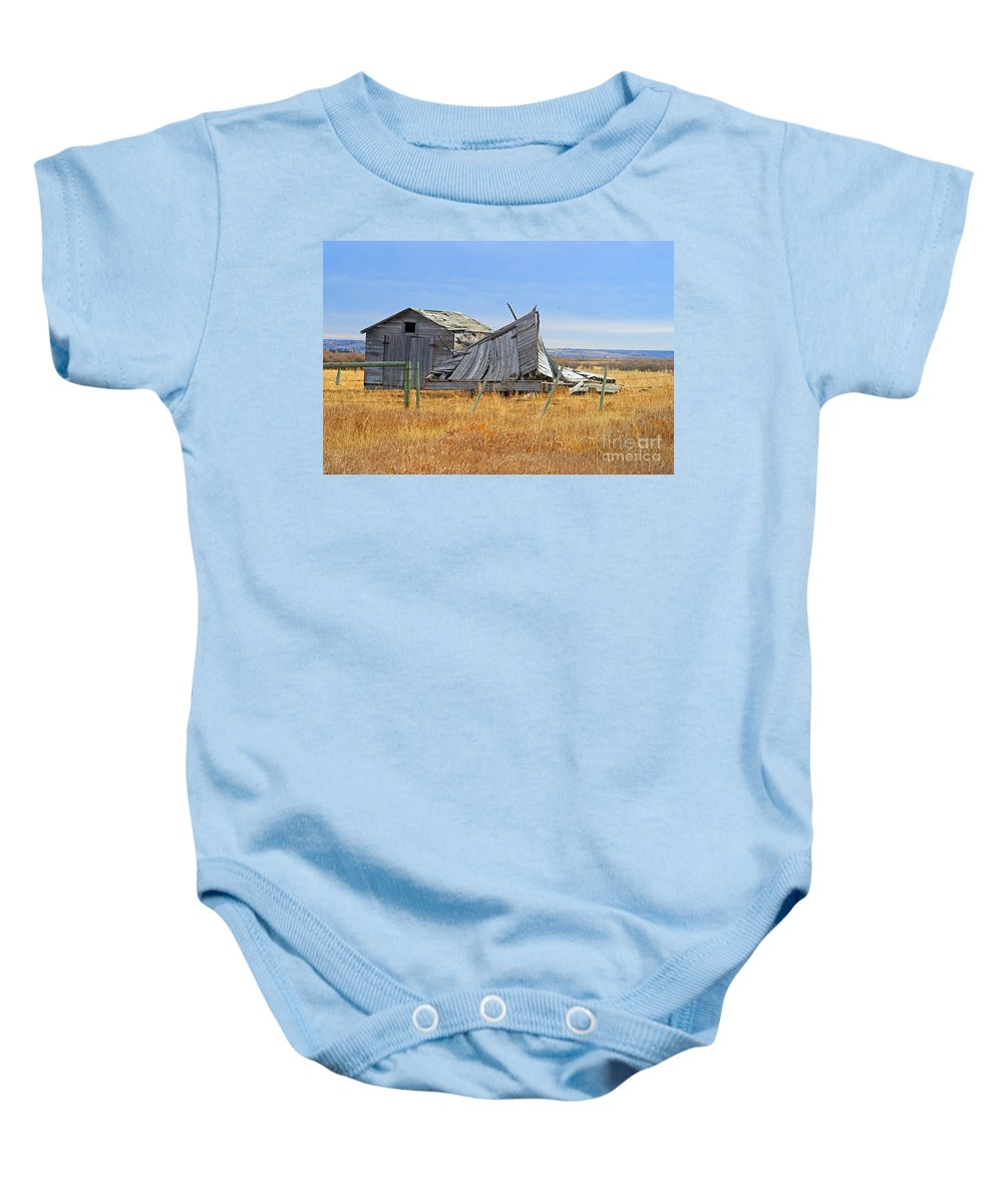 Old Barn Baby Onesie featuring the photograph Partial Fallen Barn by Randy Harris