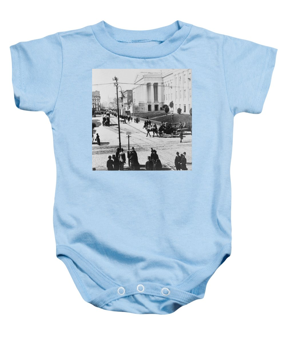 washington Dc Baby Onesie featuring the photograph Patent Office During Presidential Inauguration - Washington Dc - C 1889 by International Images