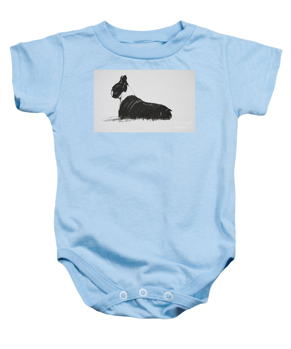 Boston Terrier Baby Onesie featuring the drawing Patience by Susan Herber