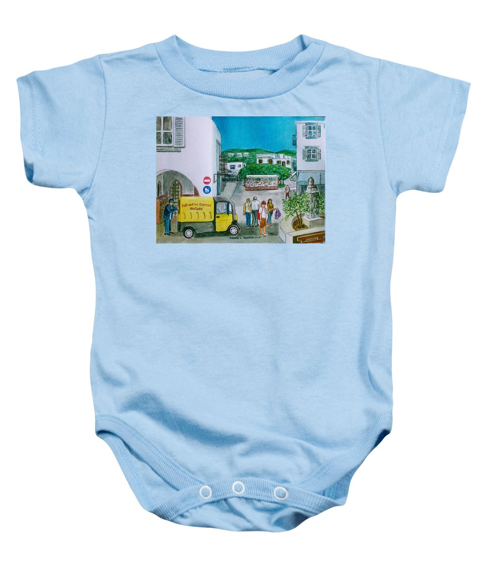 Greek Island Patmos Fish Monger Truck Yellow Tourists John Baby Onesie featuring the painting Patmos Fish Monger by Frank Hunter