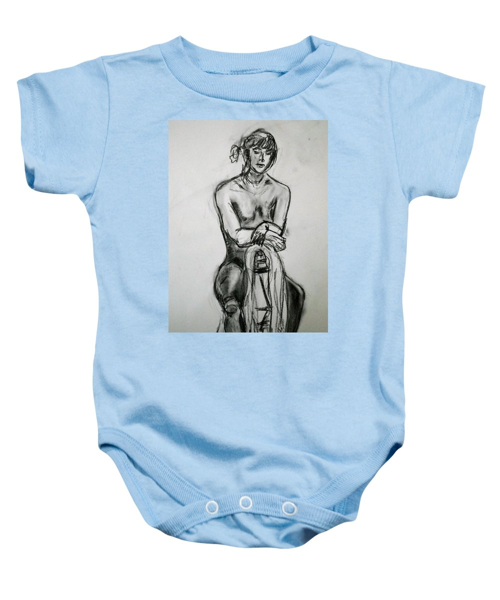 Woman Baby Onesie featuring the drawing Paula - Charcoal Life Drawing by Anna Ruzsan