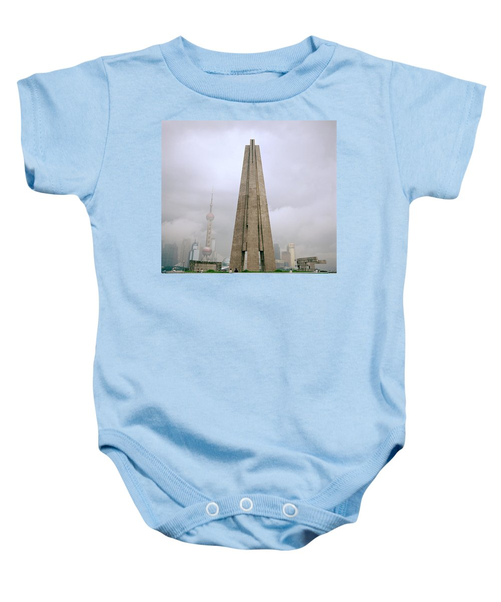 China Baby Onesie featuring the photograph Peoples Heroes Monument In Shanghai In China by Shaun Higson