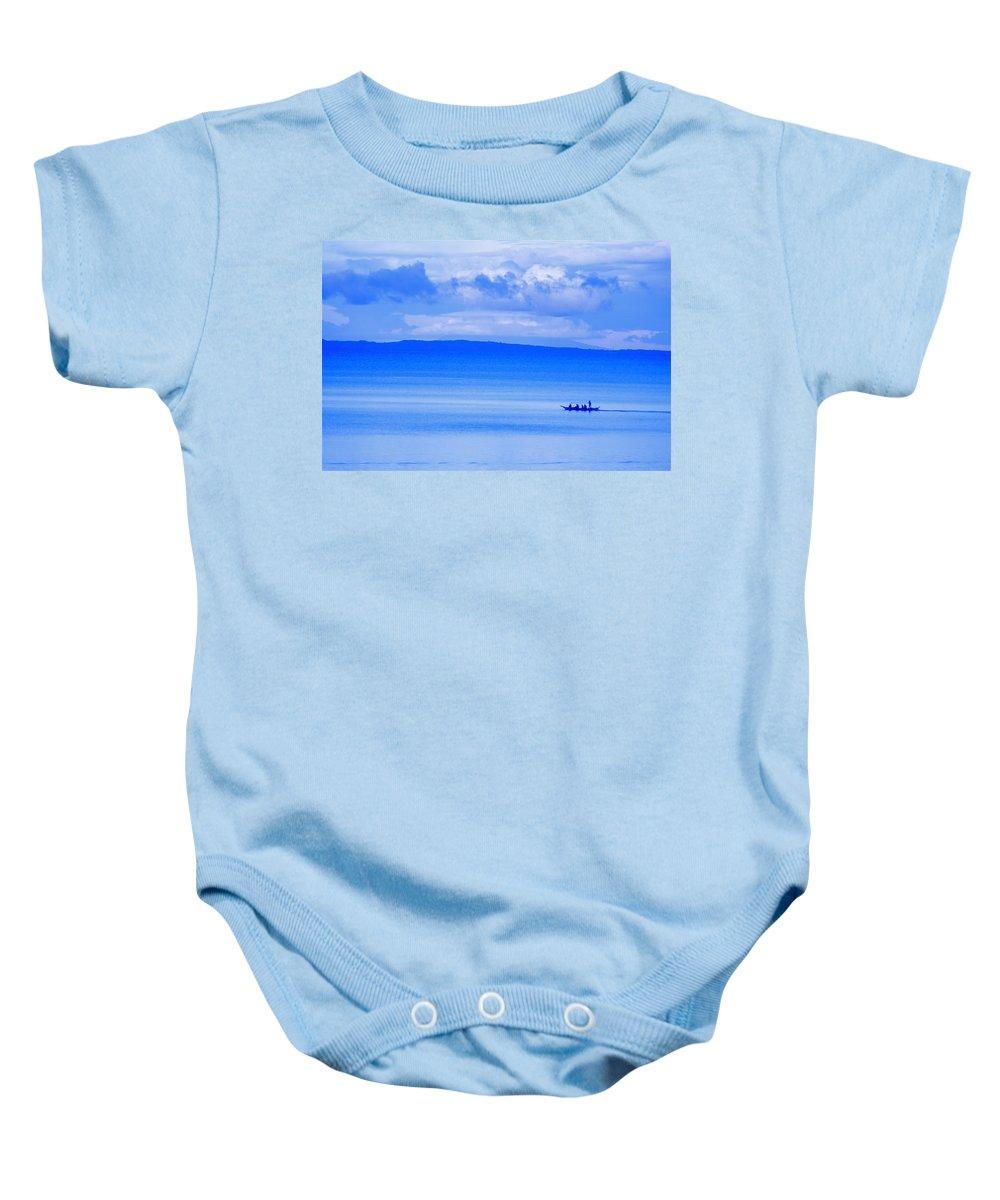 Blue Baby Onesie featuring the photograph Philippine Sea Sunrise by Valerie Rosen