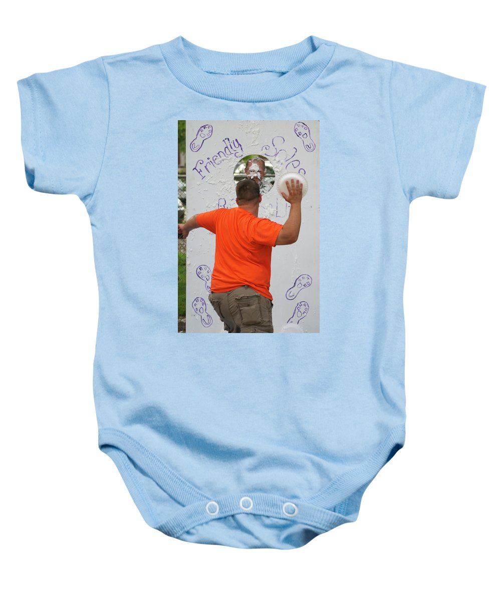 Pie Tossing Baby Onesie featuring the photograph Pie Tossing 01 by Thomas Woolworth