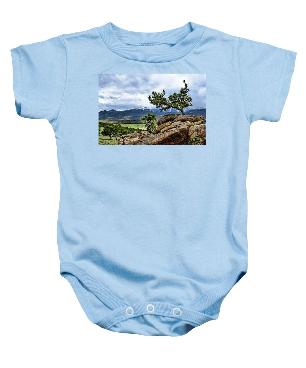 Pine Tree Baby Onesie featuring the photograph Pine Tree And Mountains by Alan Hutchins