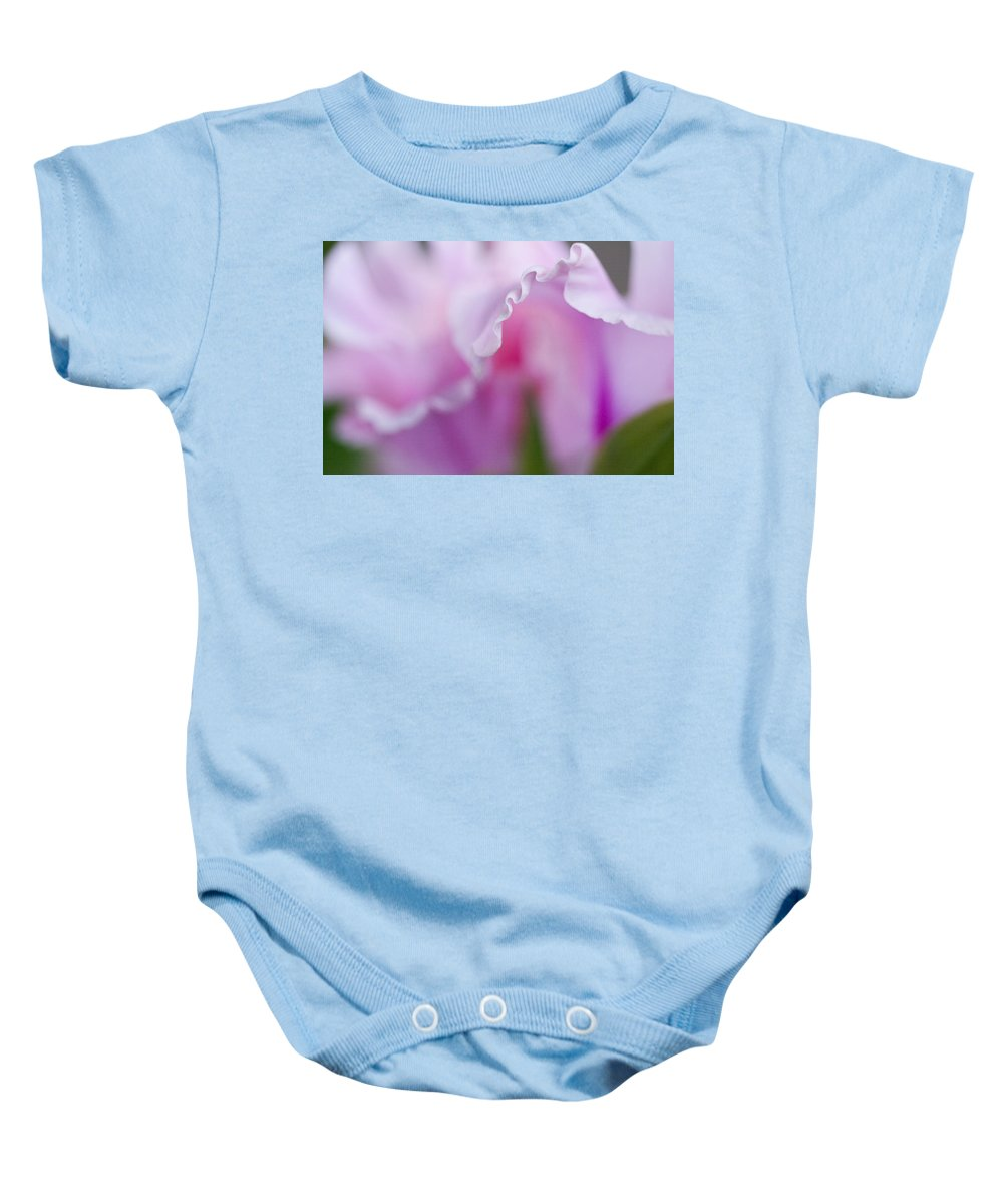 Gladiola Baby Onesie featuring the photograph Pink Gladiola Ruffles by Kathy Clark