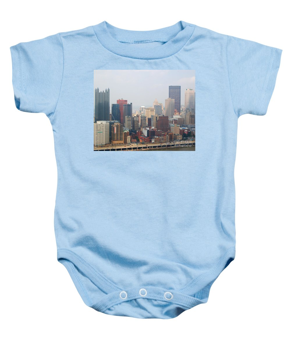 Pittsburgh Baby Onesie featuring the photograph Pittsburgh Skyline by Stephen Whalen