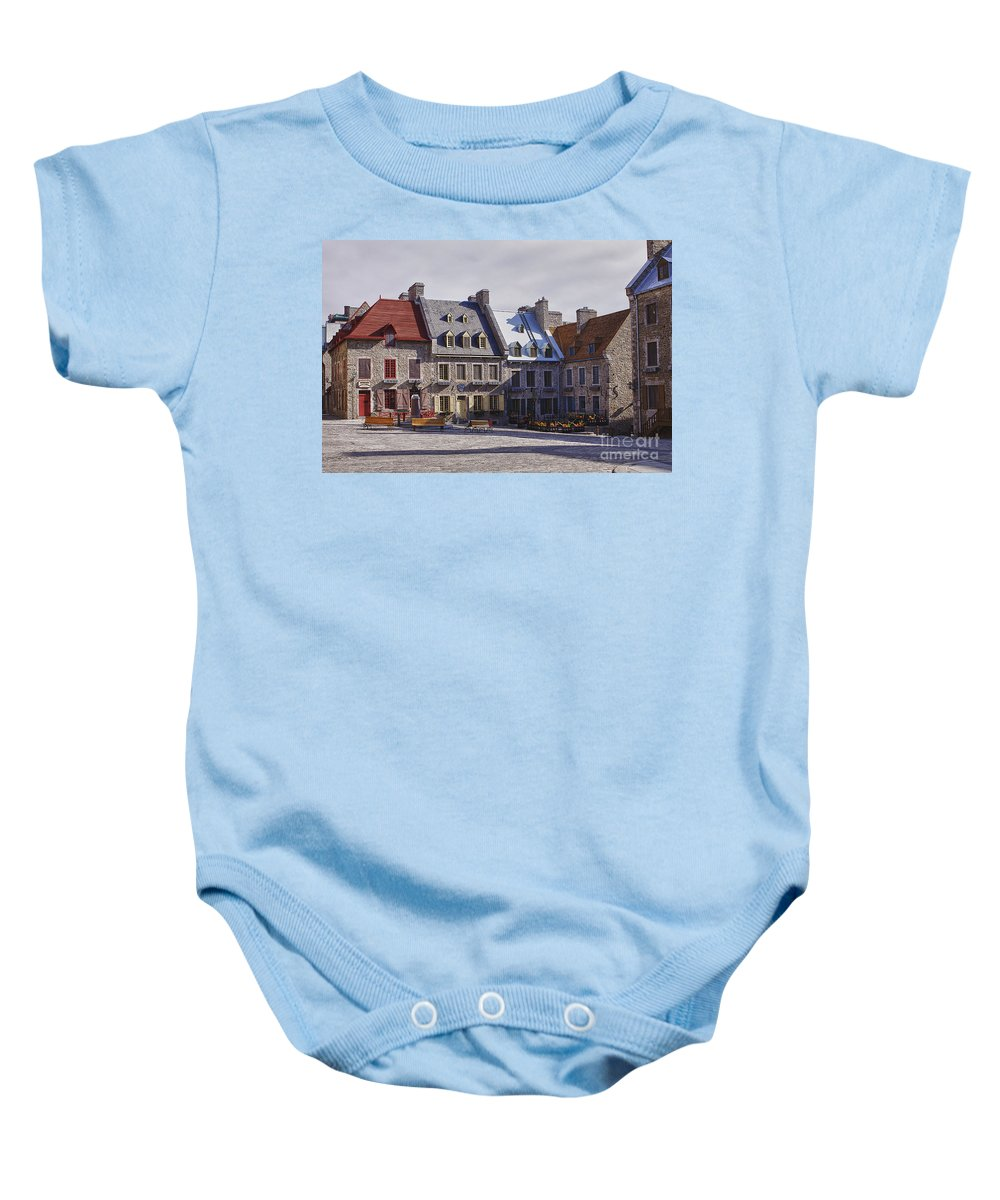 Quebec Baby Onesie featuring the photograph Place Royale by Eunice Gibb