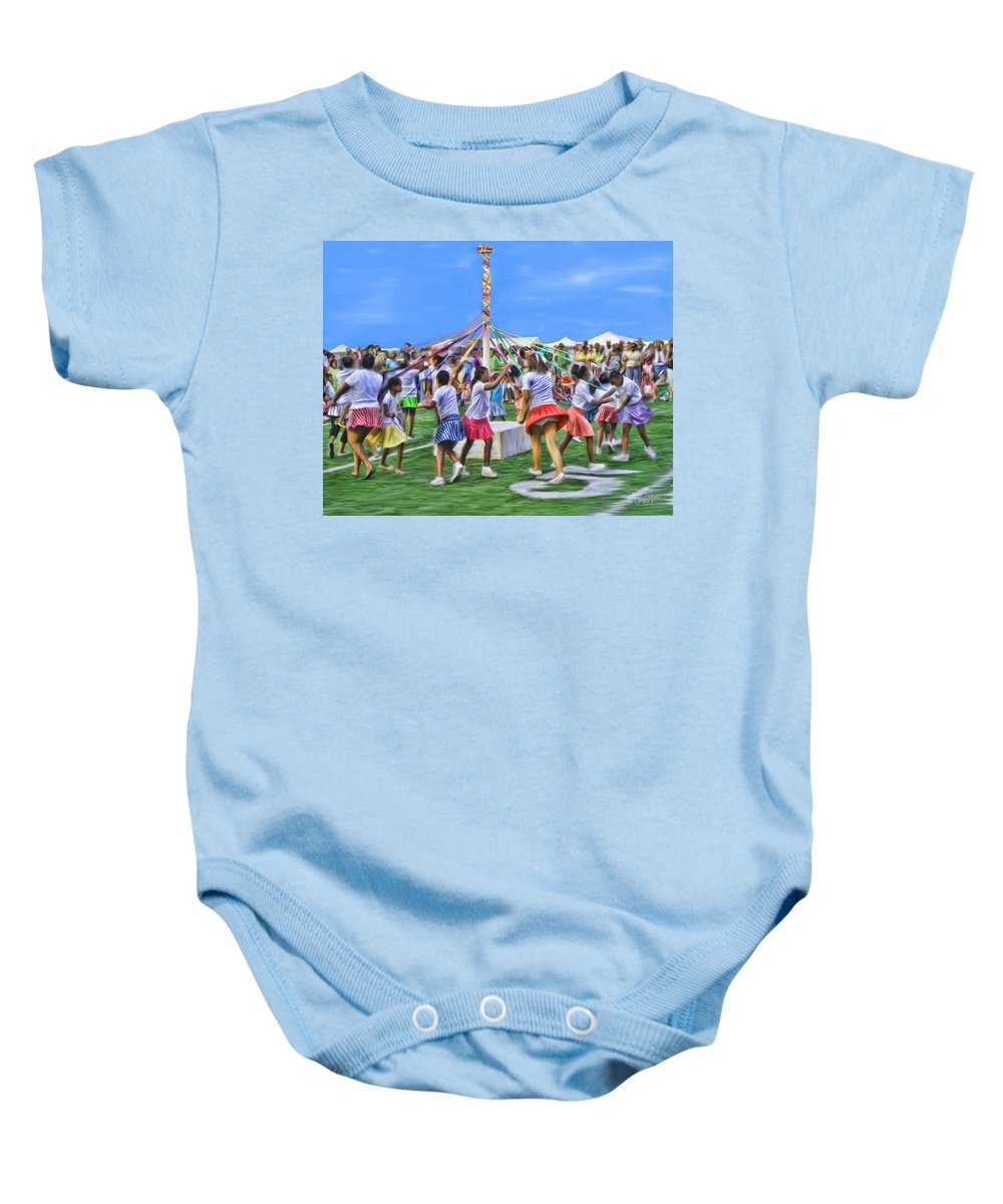 Maypole Baby Onesie featuring the painting Plaiting The Maypole by James Mingo