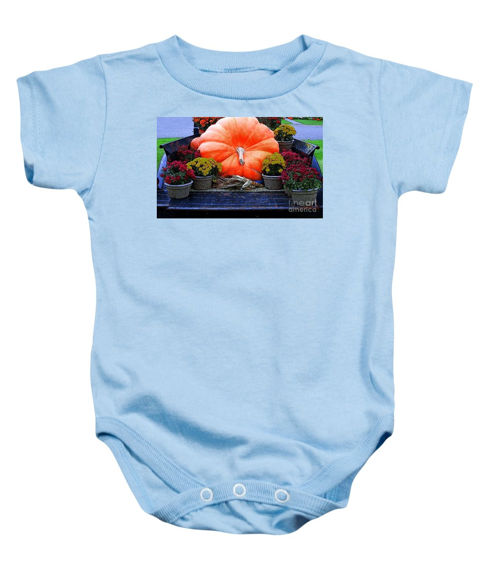 Pumpkin Baby Onesie featuring the photograph Pumpkin And Flowers by Kathleen Struckle
