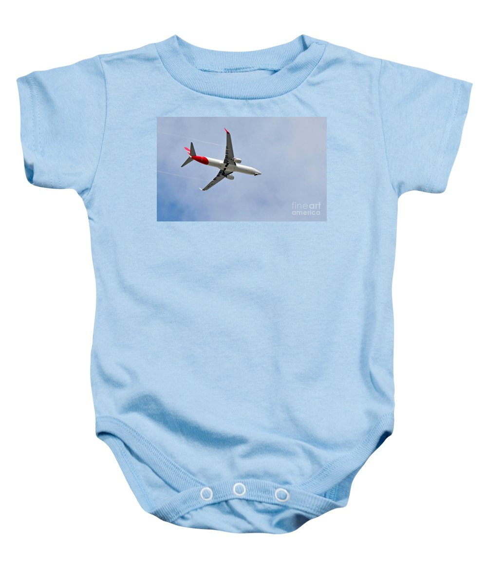 Photography Baby Onesie featuring the photograph Qantas Heading Home by Kaye Menner