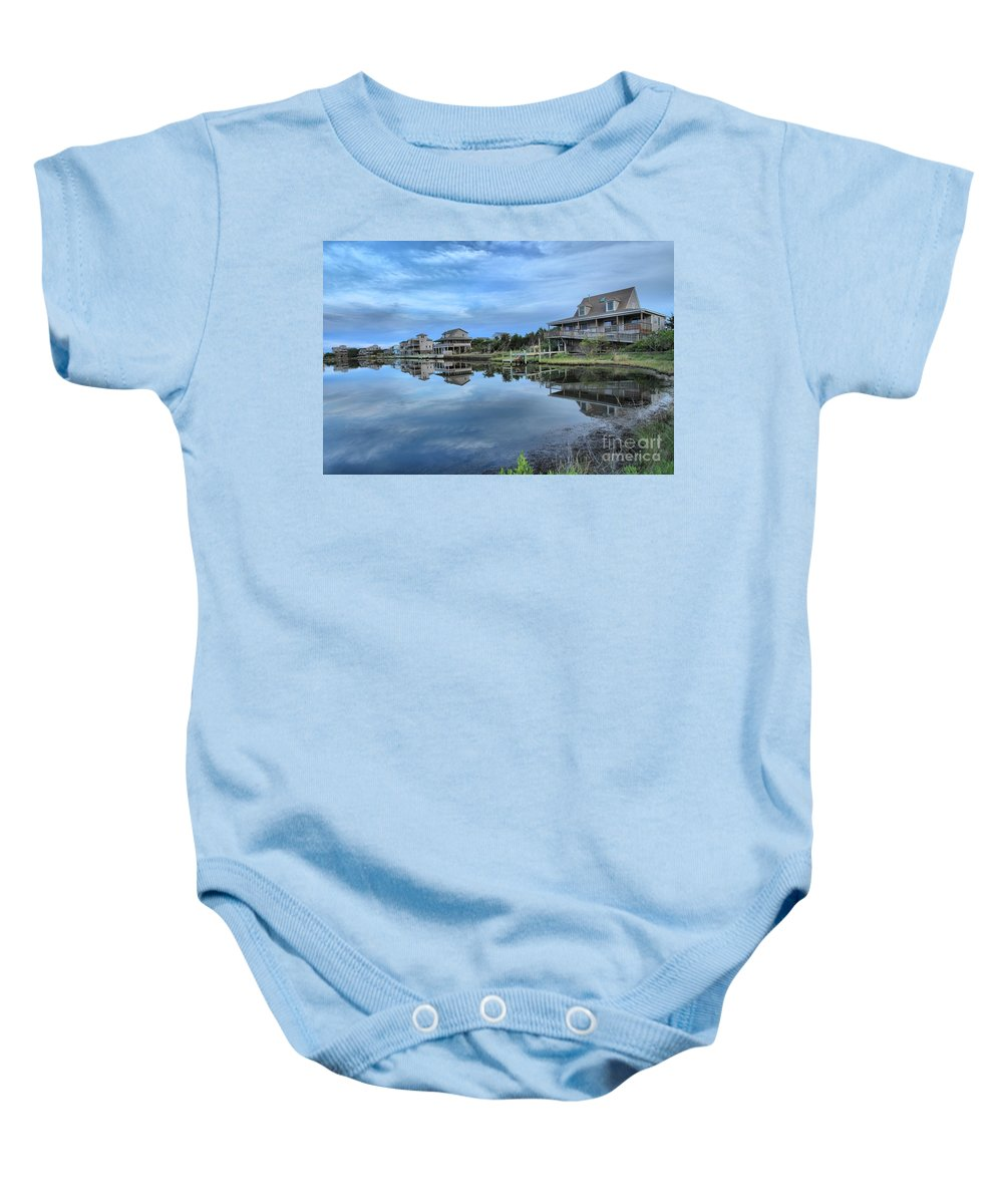 North Carolina Outer Banks Baby Onesie featuring the photograph Quiet On The Sound by Adam Jewell