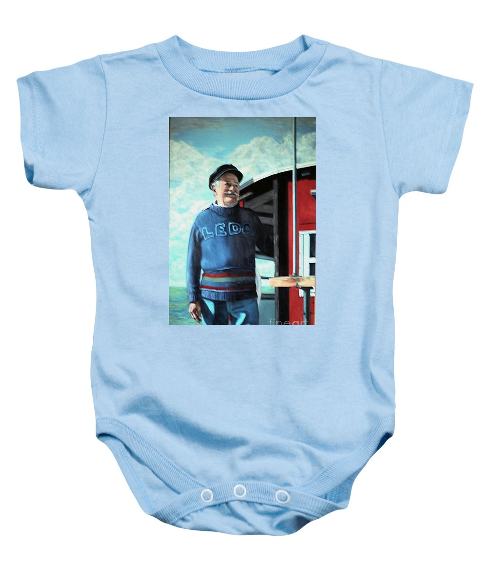 Portrait Baby Onesie featuring the painting R. Sylvester Founder Maritime Museum by Michael John Cavanagh