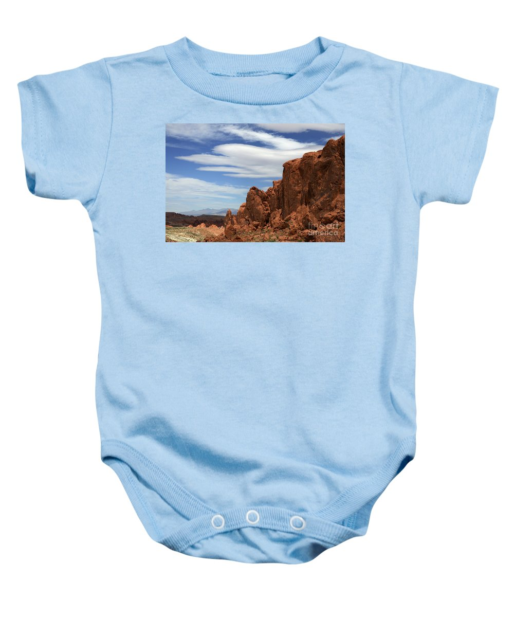 Red Cliffs Baby Onesie featuring the photograph Red Cliffs Blue Sky by Bob Christopher